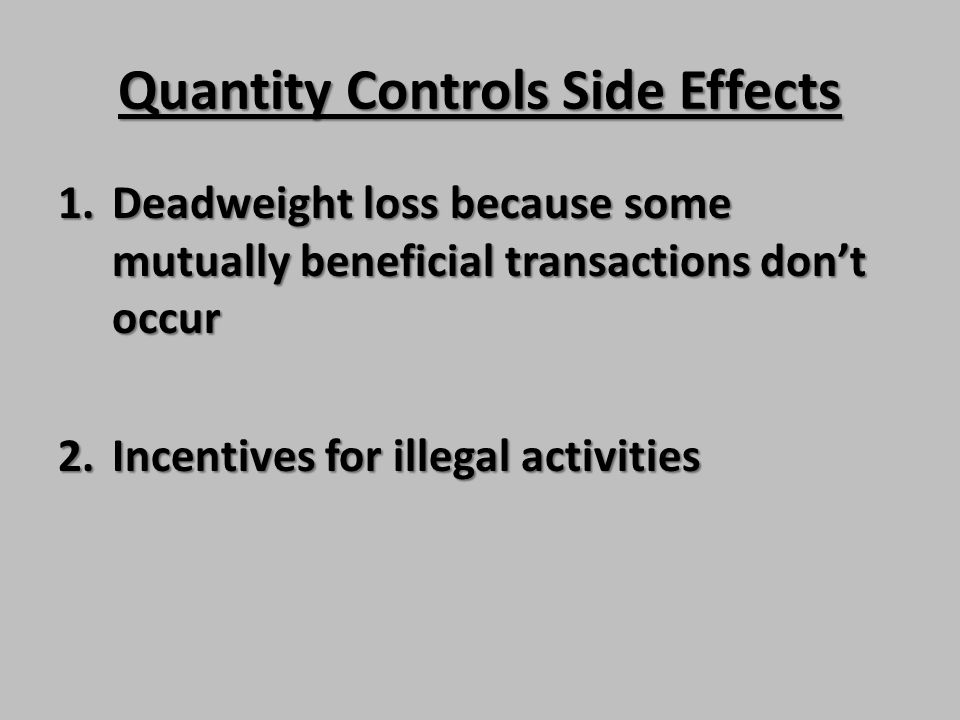 Quantity Controls Side Effects