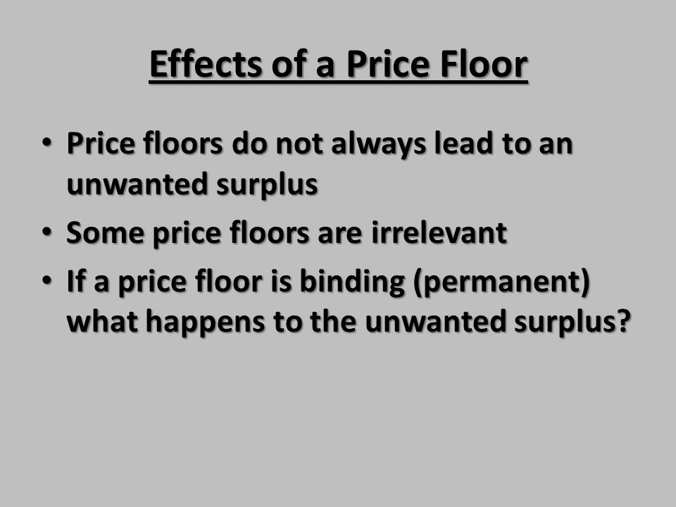 Effects of a Price Floor