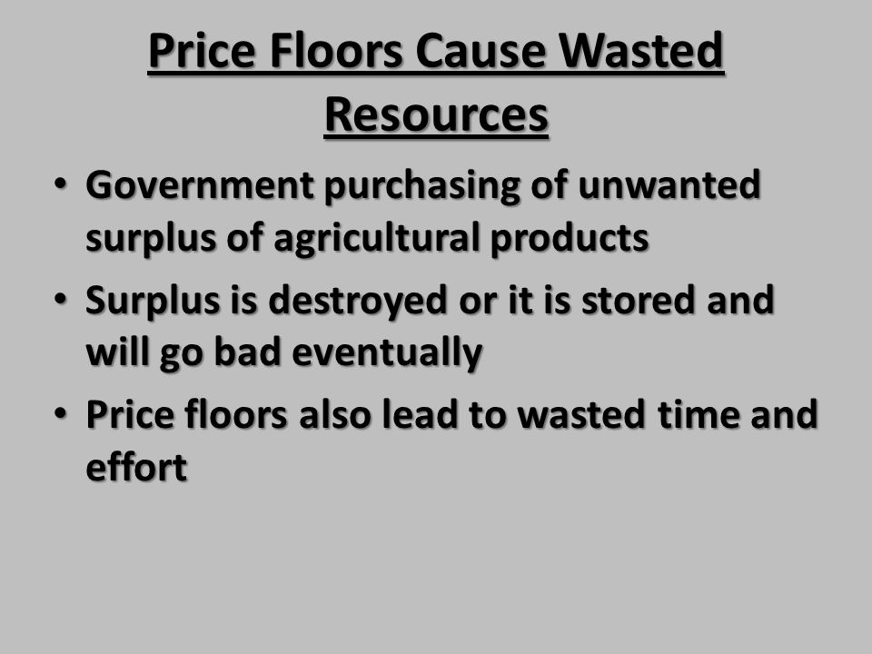 Price Floors Cause Wasted Resources