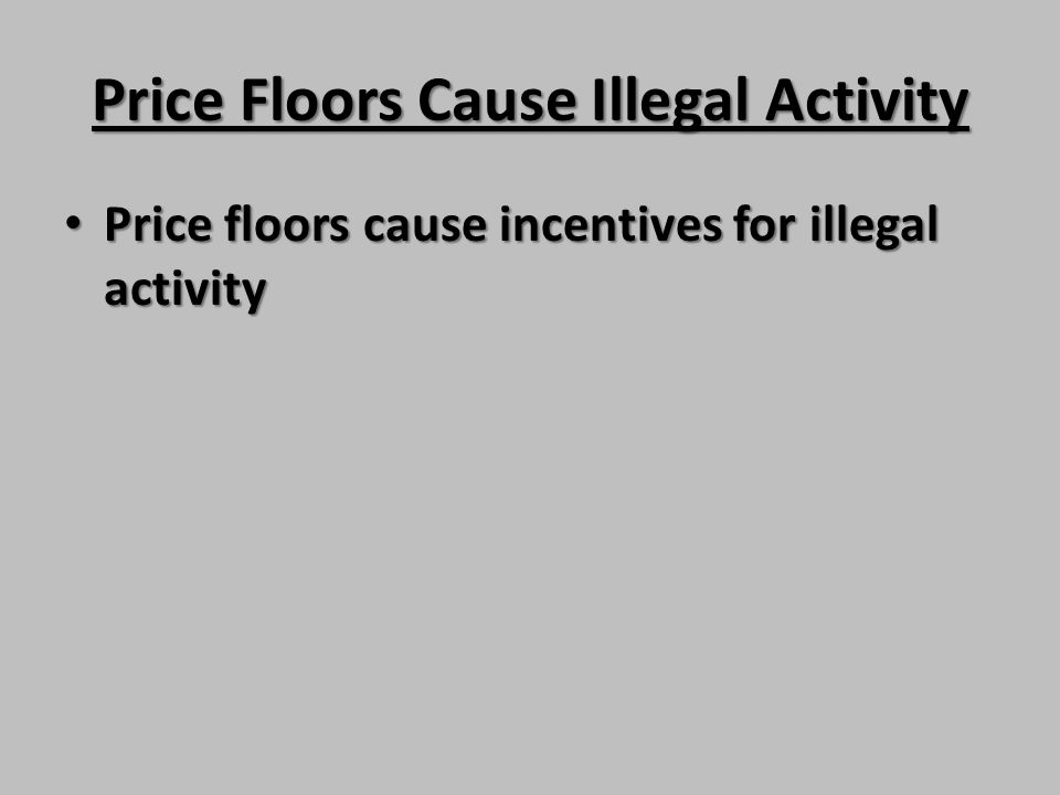 Price Floors Cause Illegal Activity