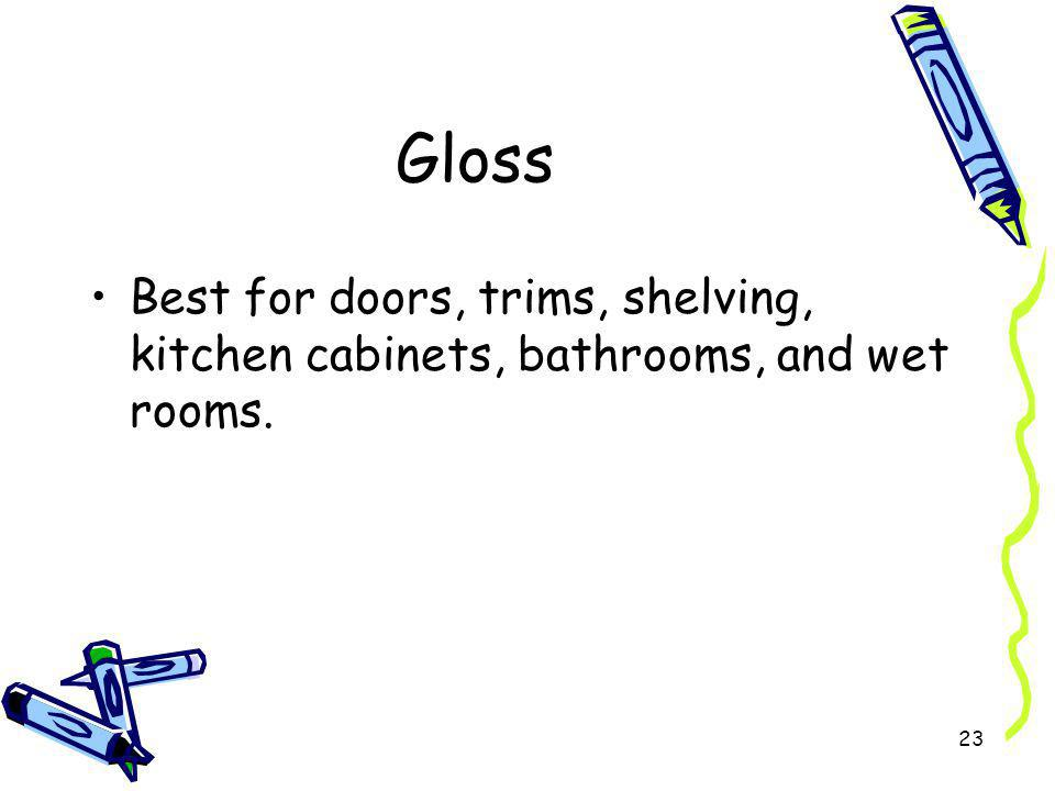 Gloss Best for doors, trims, shelving, kitchen cabinets, bathrooms, and wet rooms.