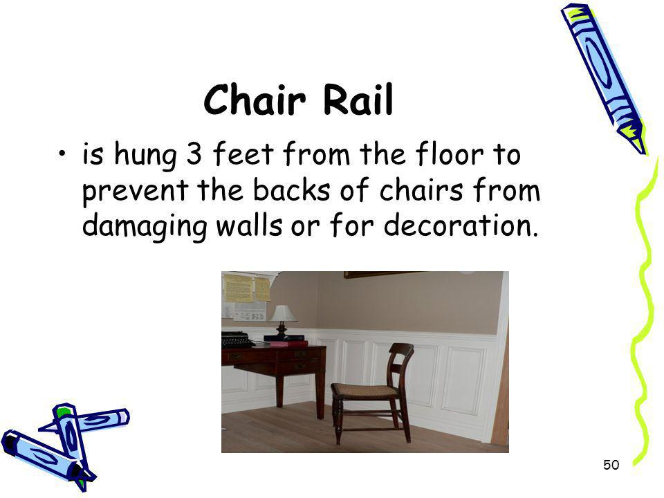 Chair Rail is hung 3 feet from the floor to prevent the backs of chairs from damaging walls or for decoration.