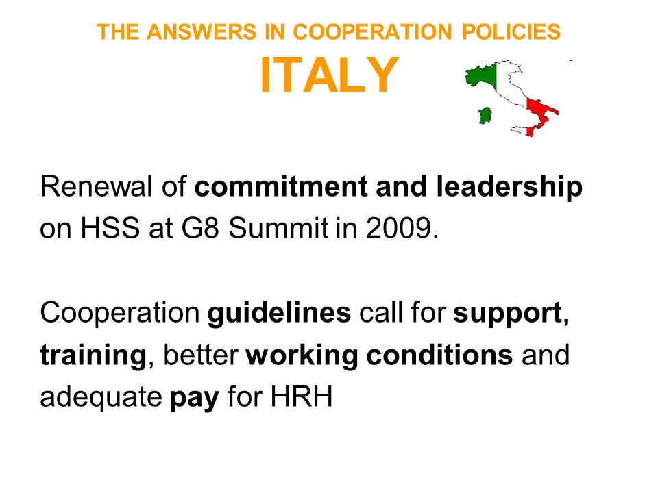 THE ANSWERS IN COOPERATION POLICIES ITALY