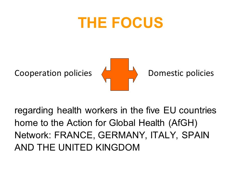THE FOCUS Cooperation policies Domestic policies