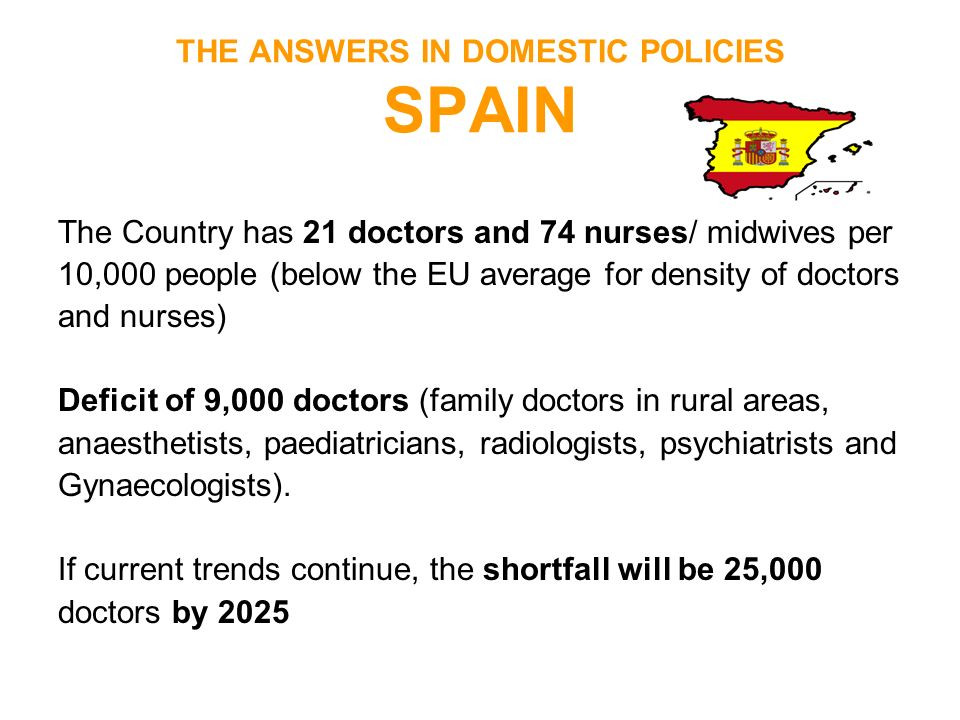 THE ANSWERS IN DOMESTIC POLICIES SPAIN