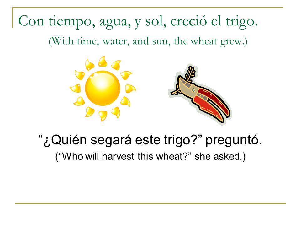 Con tiempo, agua, y sol, creció el trigo