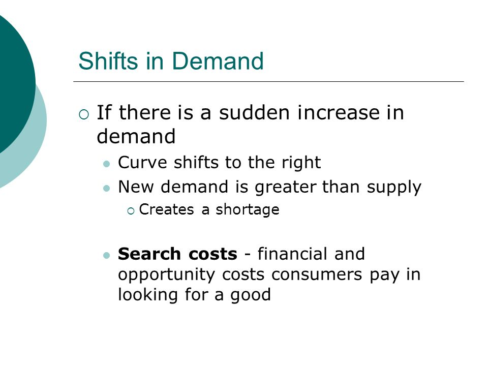 Shifts in Demand If there is a sudden increase in demand