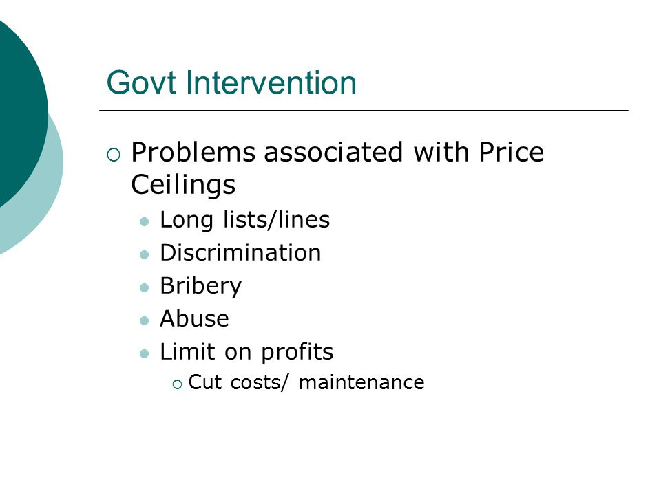 Govt Intervention Problems associated with Price Ceilings