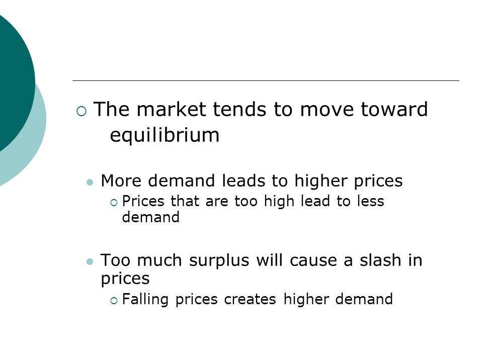 The market tends to move toward