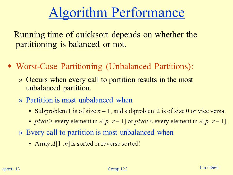 Algorithm Performance