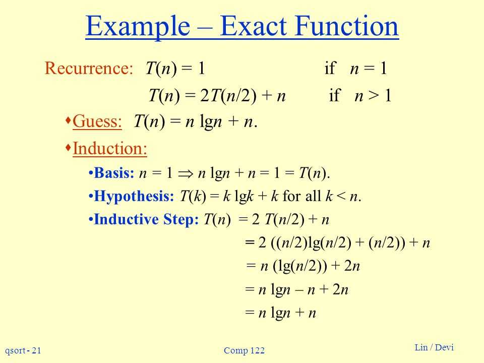Example – Exact Function