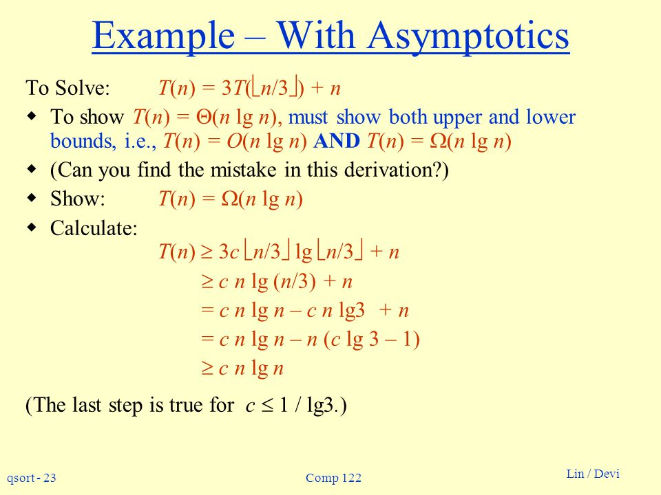 Example – With Asymptotics