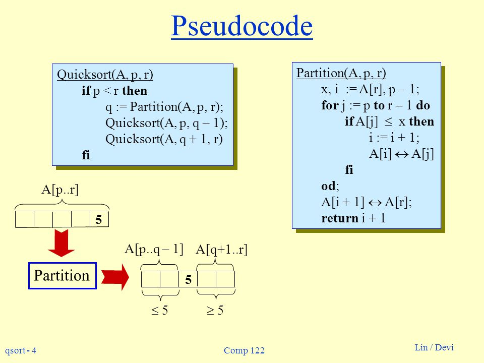 Pseudocode Partition Quicksort(A, p, r) if p < r then