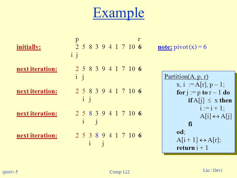 Example p r initially: 2 5 8 3 9 4 1 7 10 6 note: pivot (x) = 6 i j