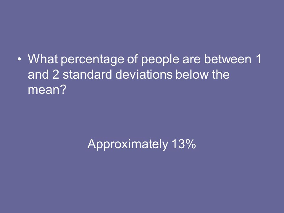 What percentage of people are between 1 and 2 standard deviations below the mean