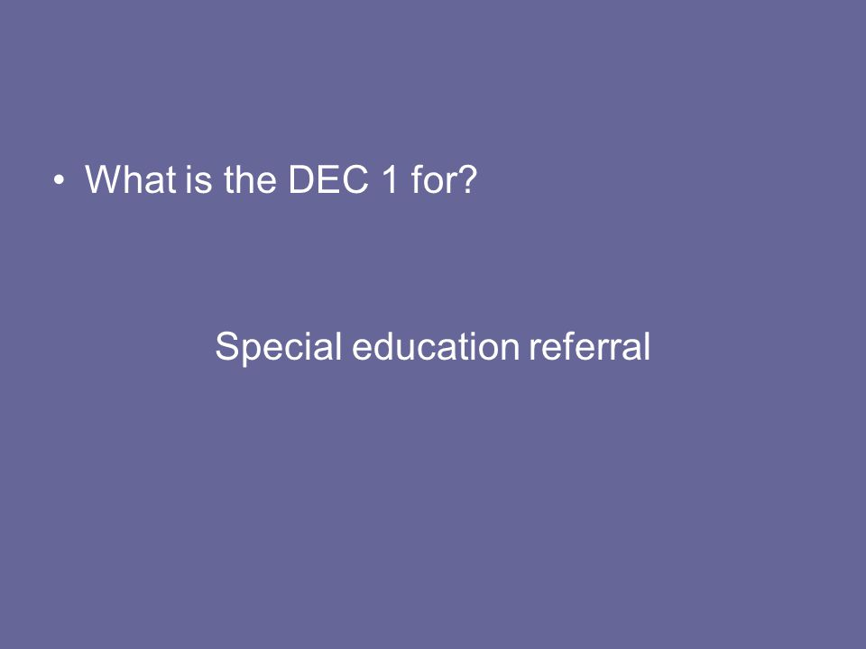 Special education referral