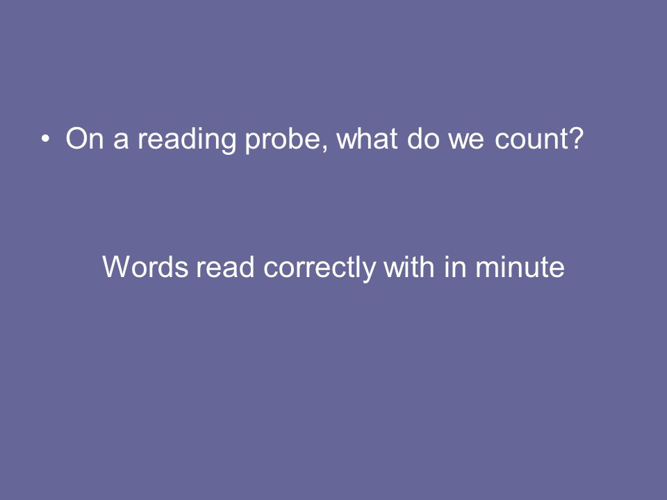 Words read correctly with in minute