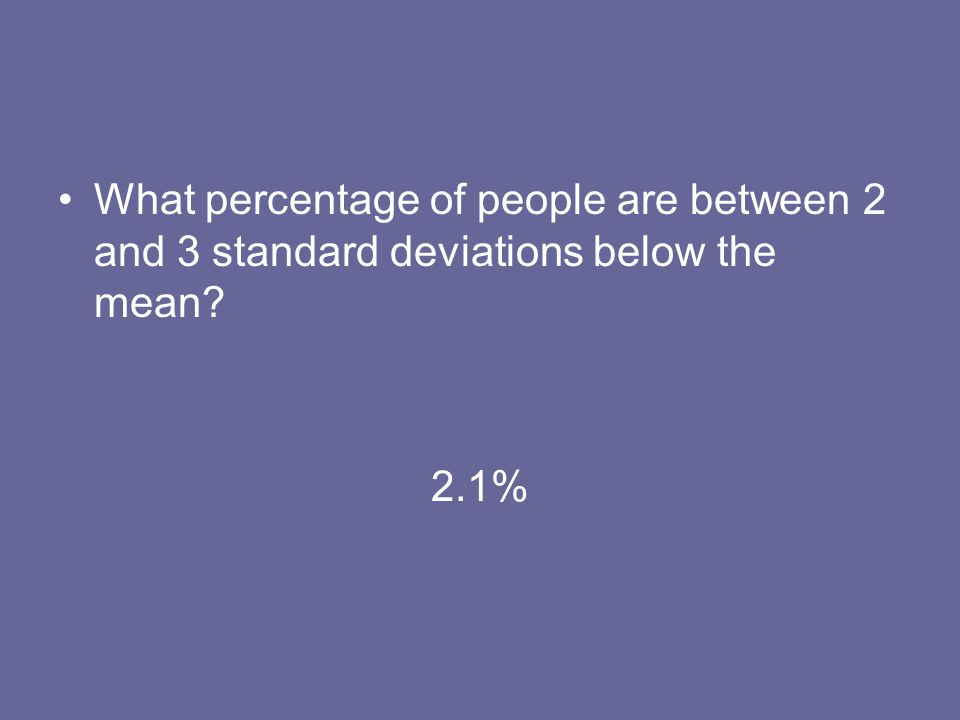 What percentage of people are between 2 and 3 standard deviations below the mean