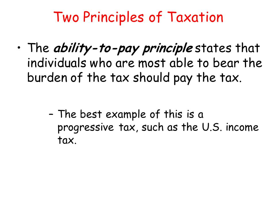 Two Principles of Taxation