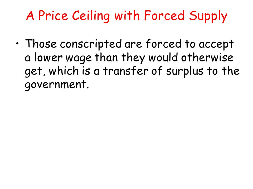 A Price Ceiling with Forced Supply