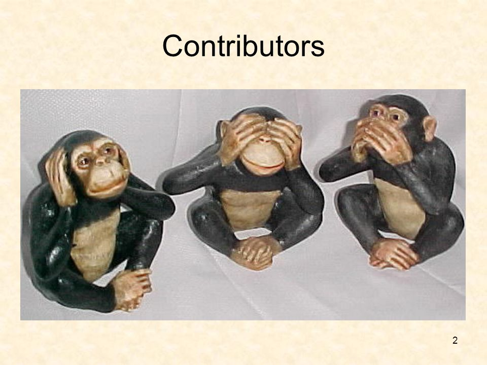 Contributors While we enjoyed putting training together – we're not a bunch of monkeys.
