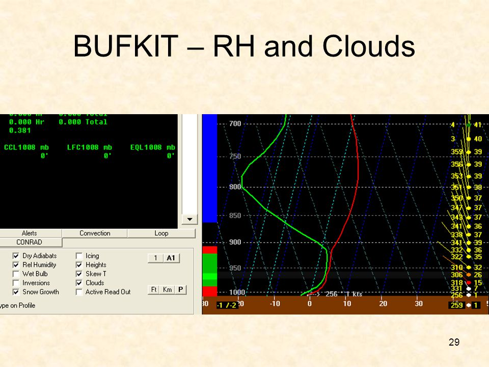 BUFKIT – RH and Clouds Note that the model (NAM) thinks it is clear .