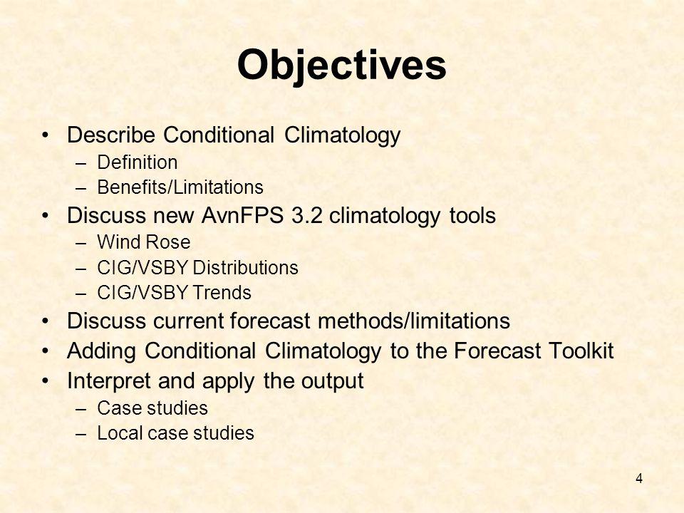 Objectives Describe Conditional Climatology