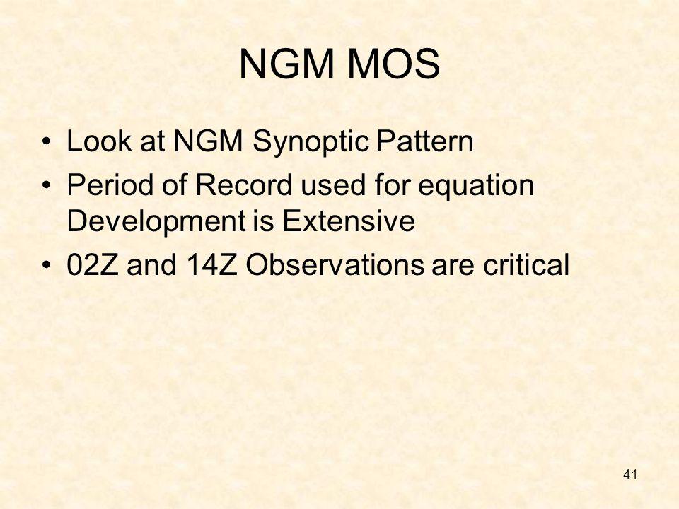 NGM MOS Look at NGM Synoptic Pattern