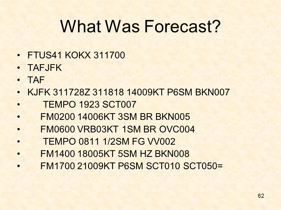 What Was Forecast FTUS41 KOKX 311700 TAFJFK TAF