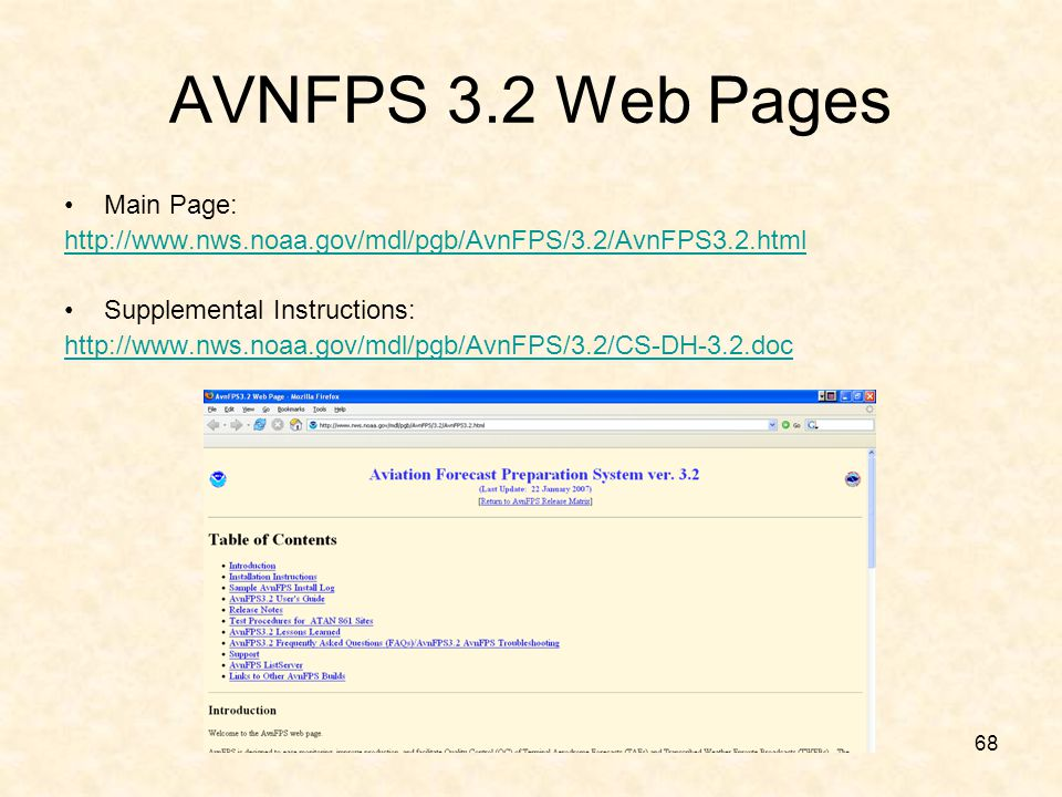 AVNFPS 3.2 Web Pages Main Page: