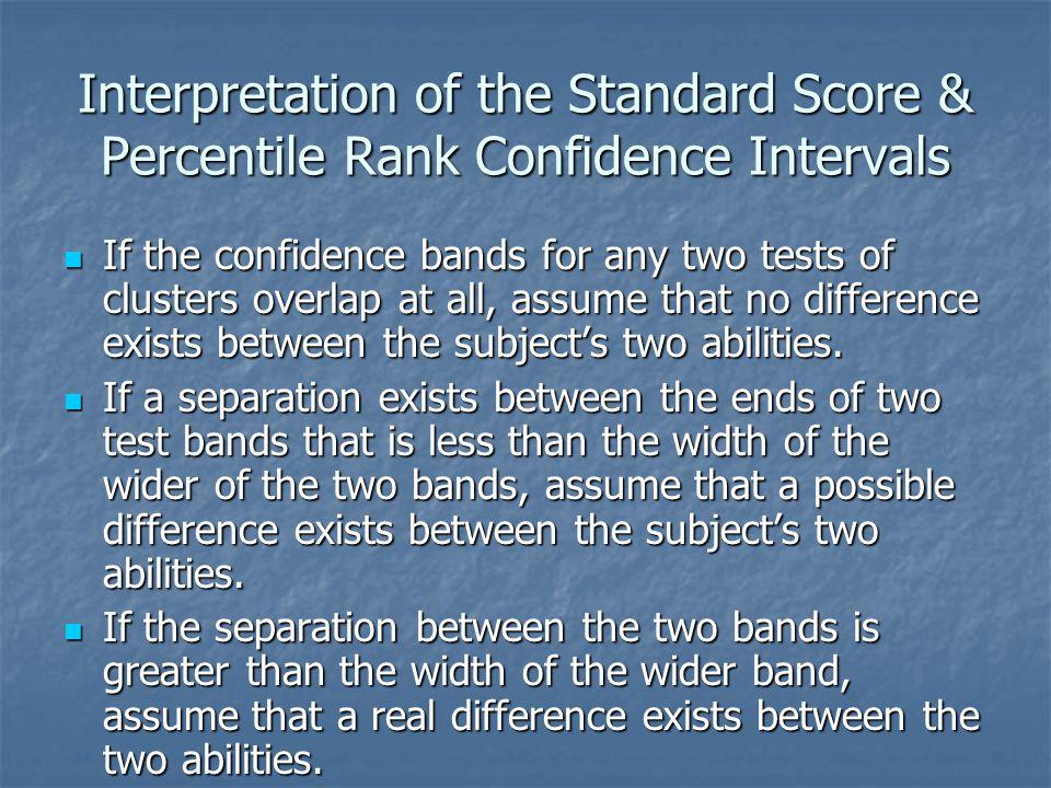Interpretation of the Standard Score & Percentile Rank Confidence Intervals