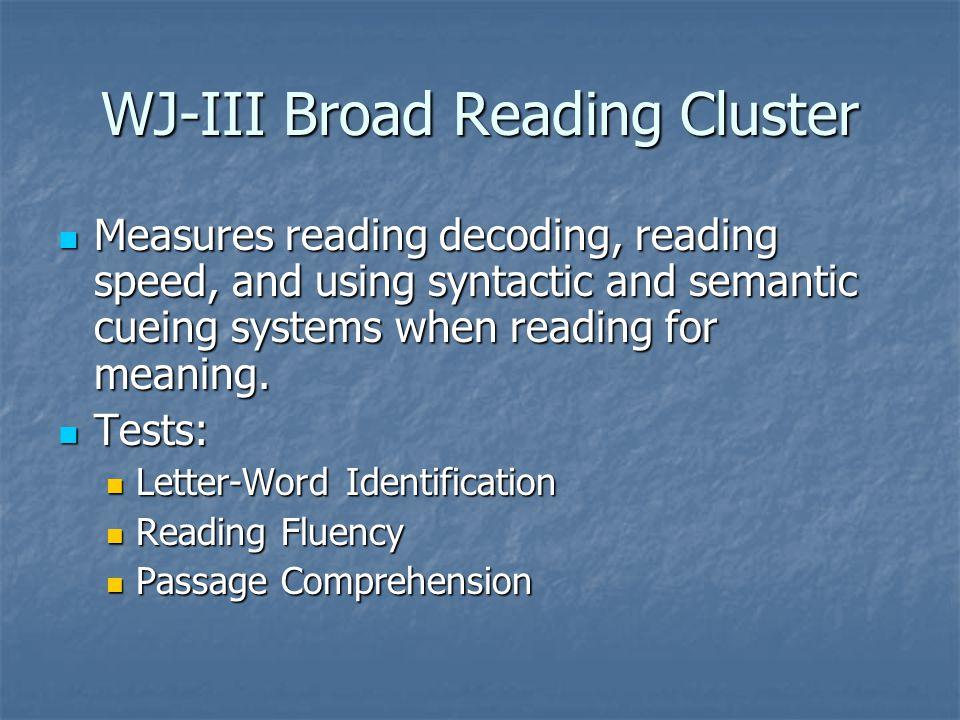 WJ-III Broad Reading Cluster