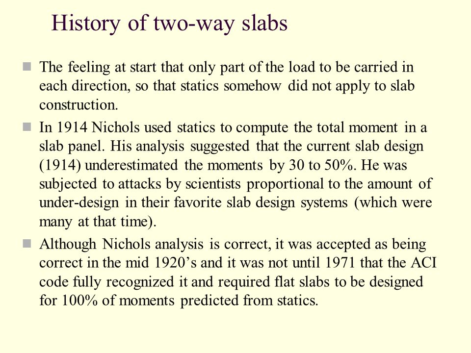 History of two-way slabs