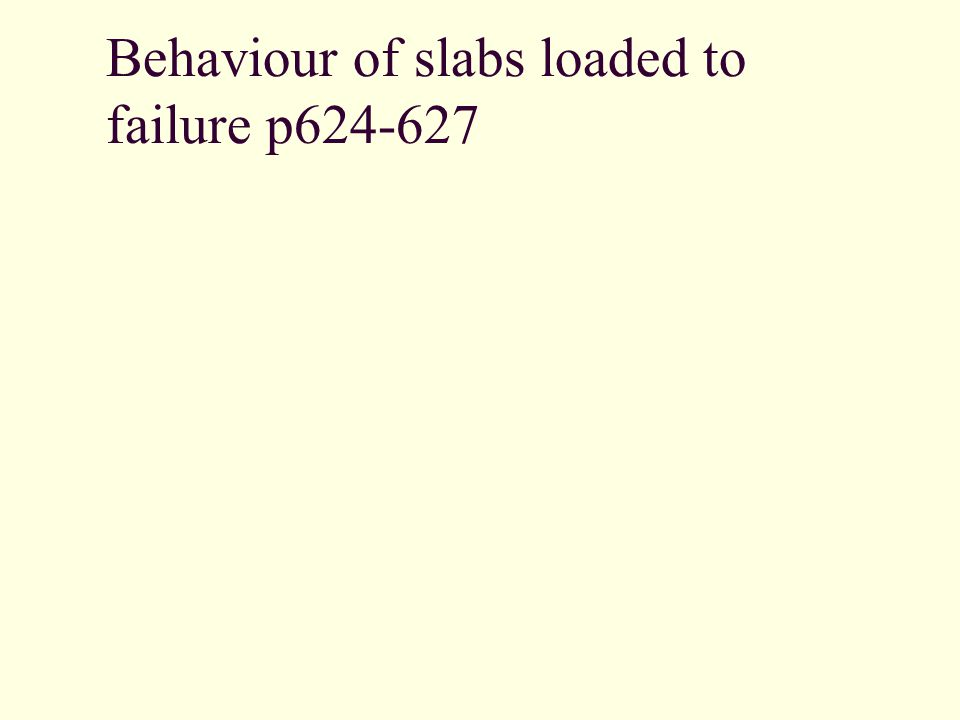 Behaviour of slabs loaded to failure p624-627