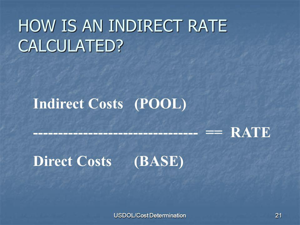 HOW IS AN INDIRECT RATE CALCULATED