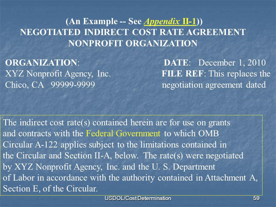 NEGOTIATED INDIRECT COST RATE AGREEMENT NONPROFIT ORGANIZATION