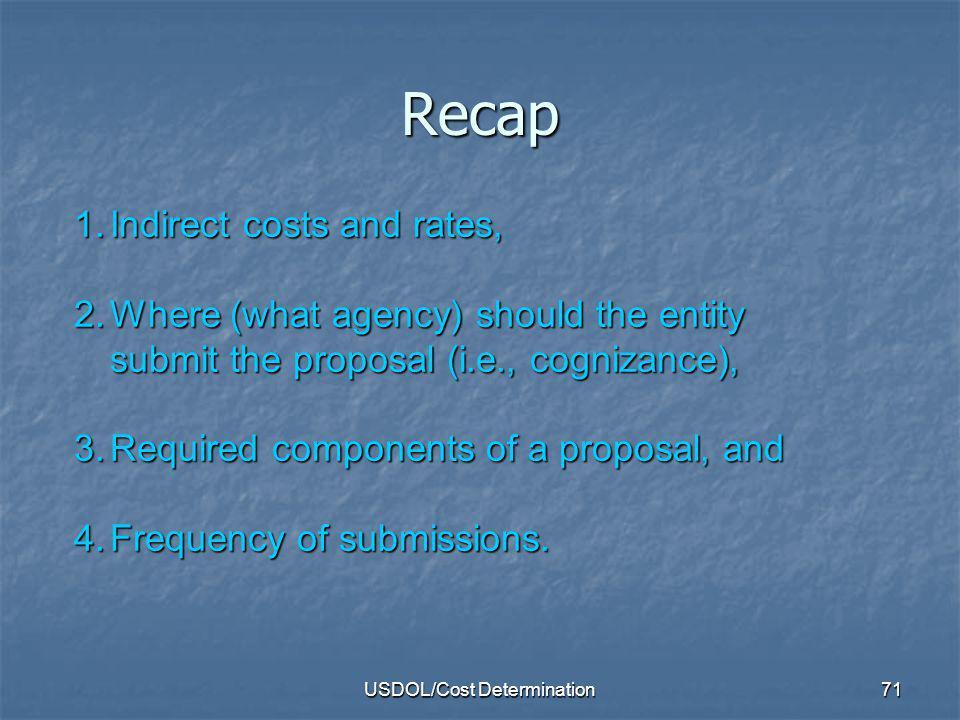 USDOL/Cost Determination