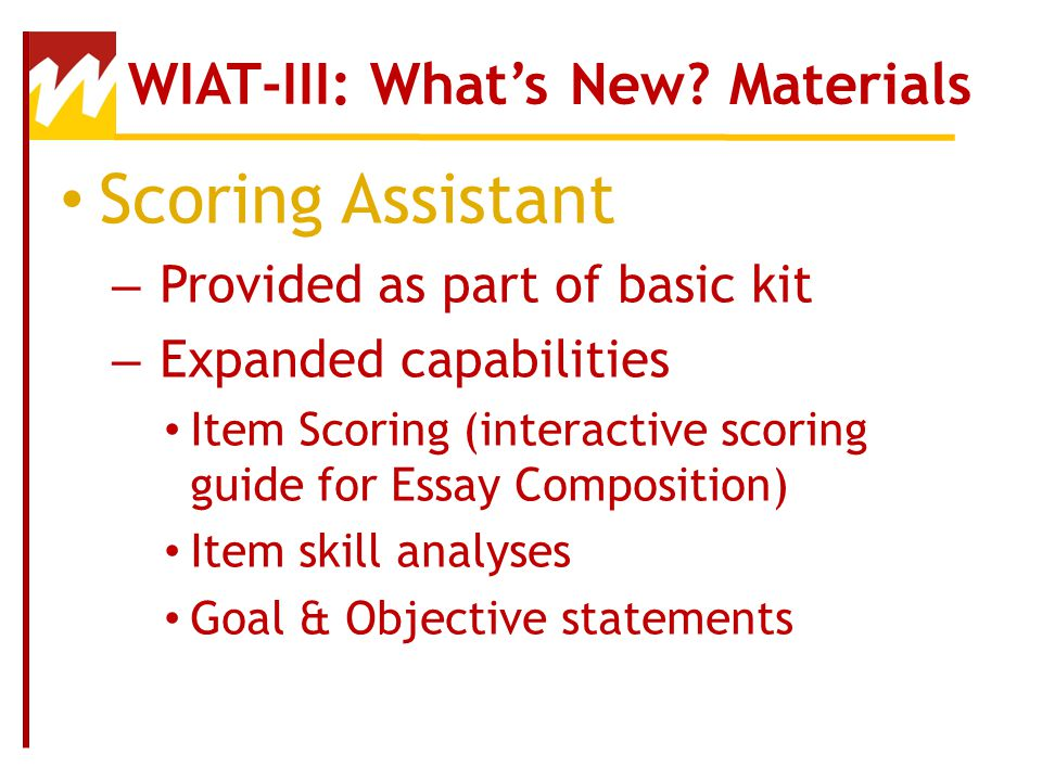 WIAT III Essay Composition  Quick Score for Theme