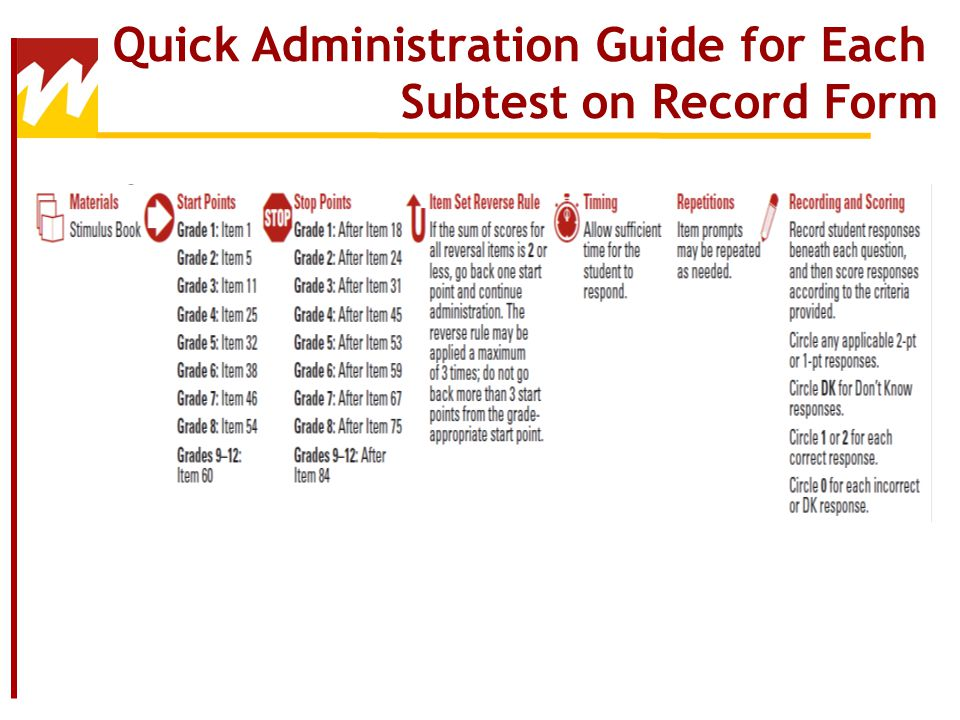 Quick Administration Guide for Each Subtest on Record Form