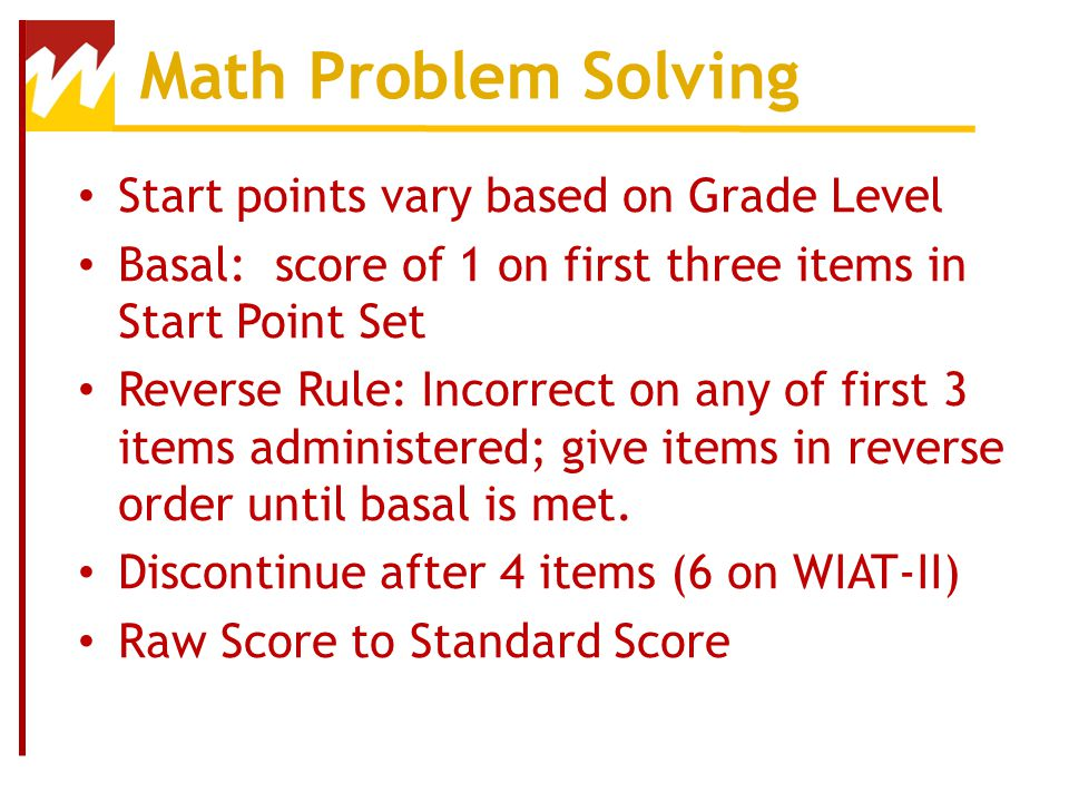 Math Problem Solving Start points vary based on Grade Level