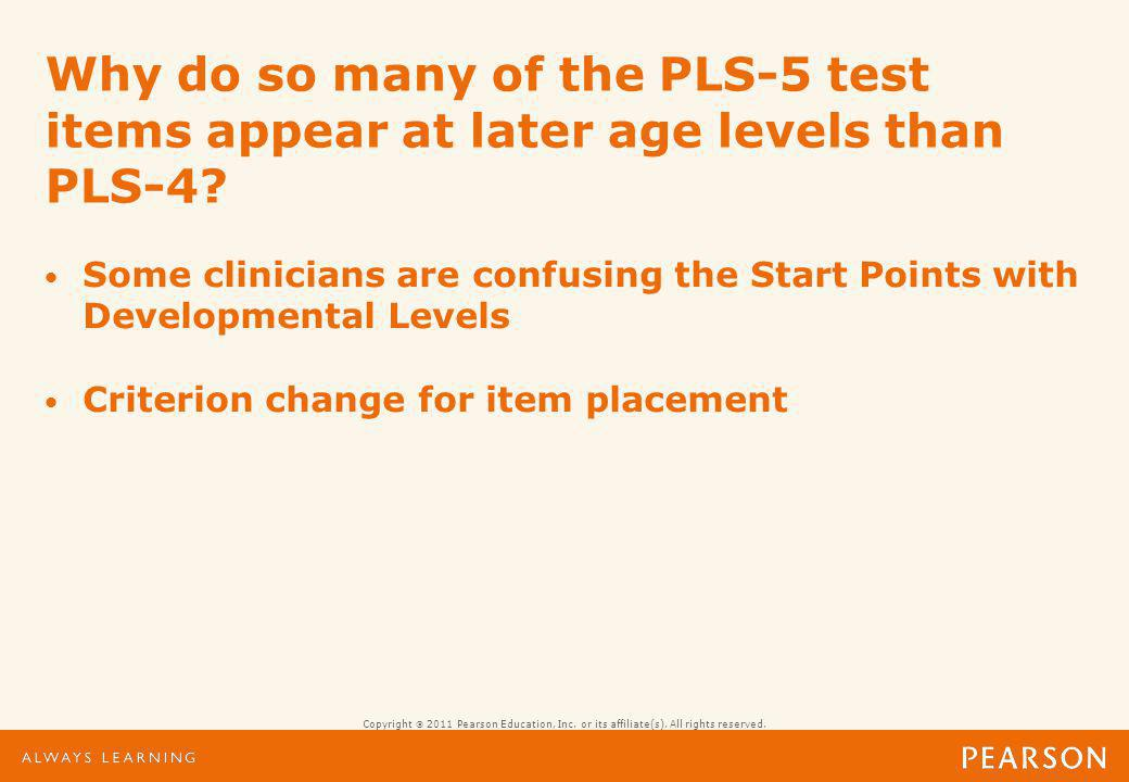 Start Points are not developmental age levels