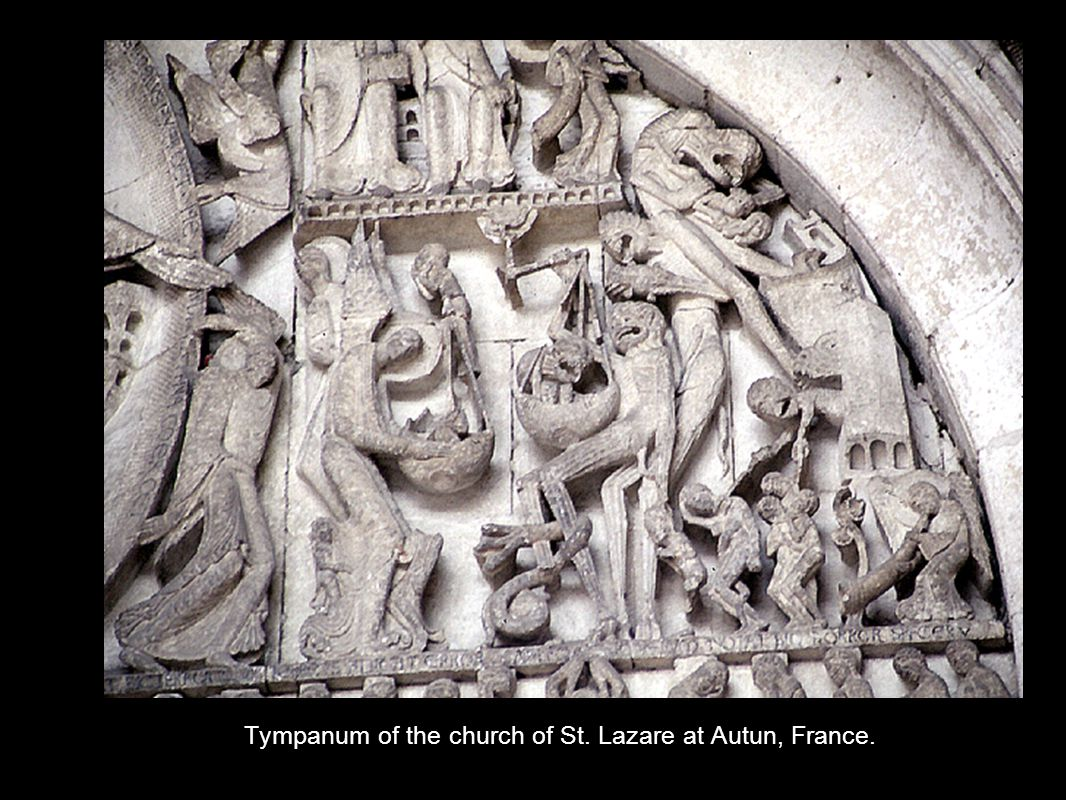 Tympanum of the church of St. Lazare at Autun, France.