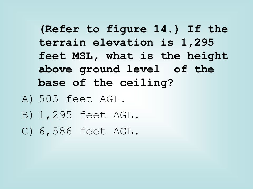 (Refer to figure 14.) If the terrain elevation is 1,295 feet MSL, what is the height above ground level of the base of the ceiling