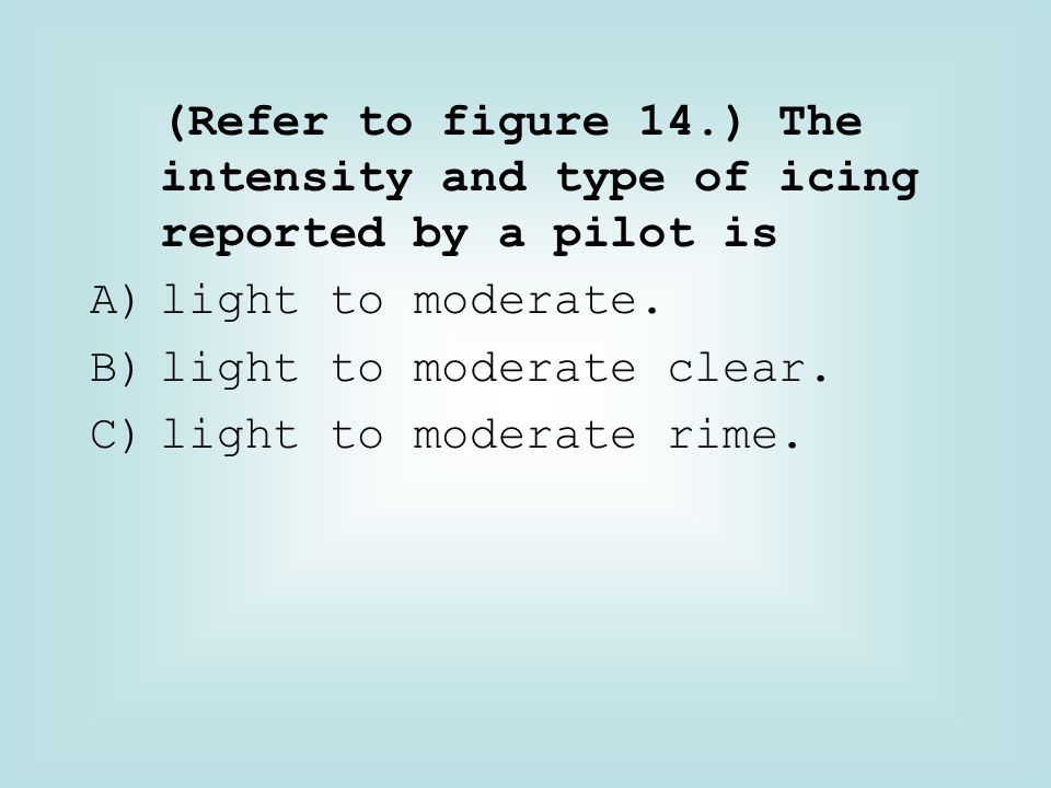 (Refer to figure 14.) The intensity and type of icing reported by a pilot is
