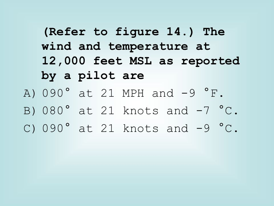 (Refer to figure 14.) The wind and temperature at 12,000 feet MSL as reported by a pilot are