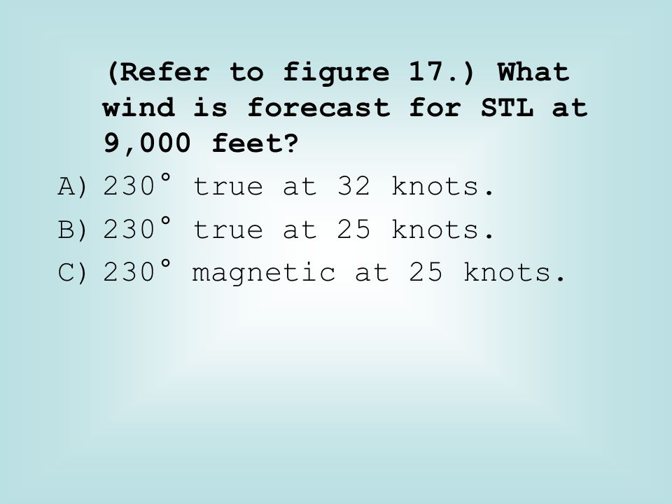 (Refer to figure 17.) What wind is forecast for STL at 9,000 feet