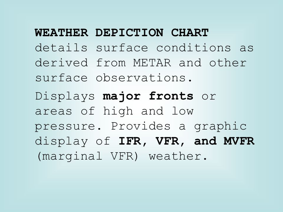 WEATHER DEPICTION CHART details surface conditions as derived from METAR and other surface observations.