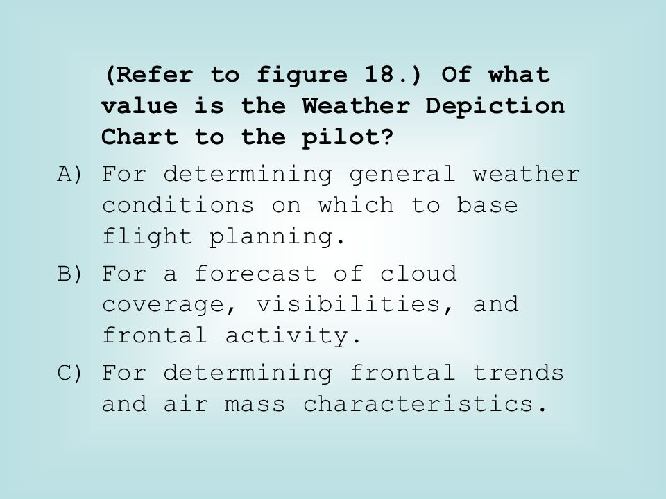 (Refer to figure 18.) Of what value is the Weather Depiction Chart to the pilot
