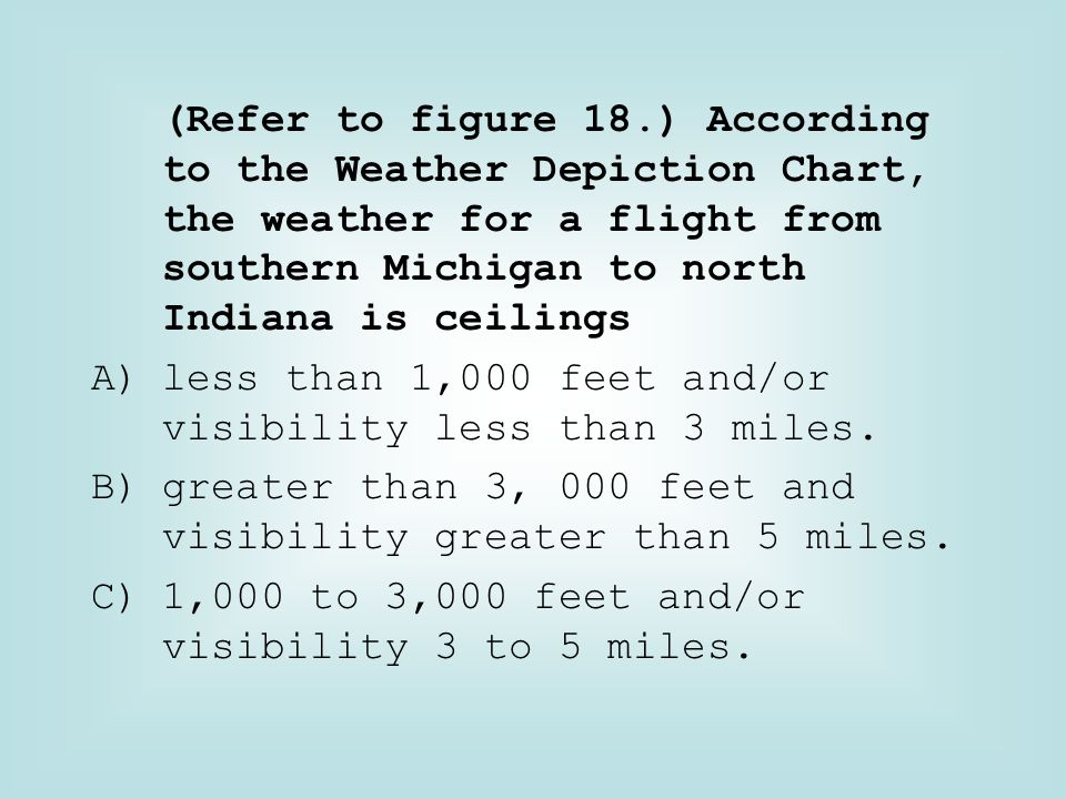 (Refer to figure 18.) According to the Weather Depiction Chart, the weather for a flight from southern Michigan to north Indiana is ceilings
