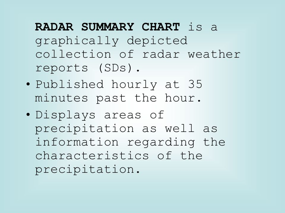RADAR SUMMARY CHART is a graphically depicted collection of radar weather reports (SDs).